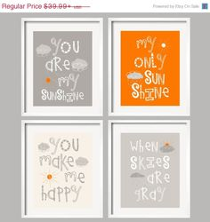 Nursery Art Decor You Are My Sunshine Gray and Orange Prints with sun and clouds, 4 prints 8x10 kids wall art, baby shower gift