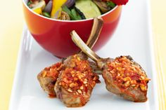 Colourful vegetables and grilled lamb with tasty dip means a complete meal which is ready in a flash.