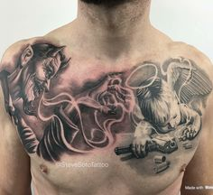 [New] The 10 Best Tattoo Ideas Today (with Pictures) - Name this Work . Cool Chest Tattoos, Chest Piece Tattoos, Dope Tattoos, Skull Tattoos, Body Art Tattoos, Hand Tattoos, Arabic Tattoos, Dragon Tattoos, Sleeve Tattoos