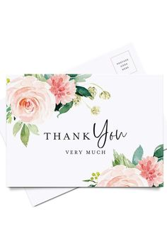 Postcard Style Notes Funeral or a Great Way just to say Thanks! Birthday Blush Floral Design Perfect for: Wedding Pack of 50 Thank You Cards Baby Shower Bridal Shower