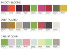 Pantone Color Palettes 2017 - Moody Blooms, Deep Rooted, Calm It Down
