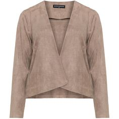 Manon Baptiste Beige Plus Size Faux suede jacket ($180) ❤ liked on Polyvore featuring outerwear, jackets, beige, plus size, brown faux suede jacket, women's plus size jackets, faux suede jacket, plus size waterfall jacket and cowl neck jacket