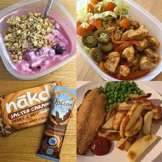 humpday 🐪 went to the gym before work this morning thennn had... B: @fage with defrosted berries, honey & granola L: more chicken fajitas 🌯 plus some grapes 🍇 S: salted caramel themed snack this afternoon! ☕️ D: fish & chips! 🐟🍟 made too many chips but i am not a quitter 💪🏼 #fooddiary #fdoe #yoghurt #fries #breakfast #peas #potato #chicken #fajita #mealprep #foodprep #rice #saltedcaramel #nakd #nakdnibbles #hotchocolate #fishandchips #fakeaway #chips