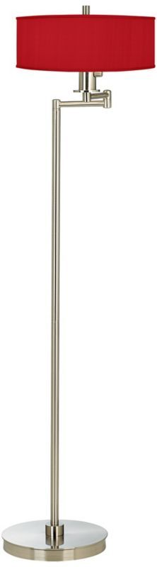 China Red Textured Silk Swing Arm 58 1/2-Inch-H Floor Lamp -