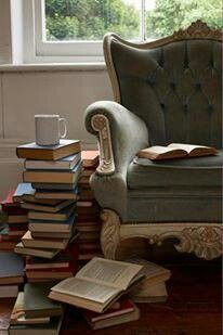 Best Reading Chairs Counter Height Tables And 80 Images Diy Ideas For Home Decor Comfy Chair With A Nice Tbr Stack Pile Of Books
