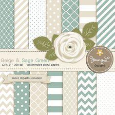 Sage Green and Beige Digital Paper Green by JennyLDesignsShop