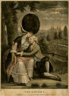 The Lovers Two lovers sitting under a tree, the woman with her hair dressed very high, holding a fan, with the man embracing her around the waist, his head on her shoulder; landscape with a river and a large house in the background to right. 1786 Hand-coloured mezzotint with some etching © The Trustees of the British Museum 2010,7081.1275