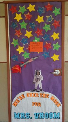 """Teacher Appreciation door with a space theme for """"Star Wars Day"""" launch....May the 4th be with you!"""
