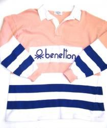 8th grade couture...Benetton Rugby Vintage 80s Sweatshirt Peach, Navy + White SOLD