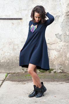 Blue dress tunic knitwear by KOKOworld on Etsy www.kokoworld.pl #kokoworld #handmade #africa #bluedress #dress #tunic #simplestyle #basic