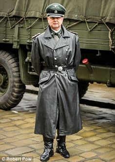Nazi enthusiasts defy ban on SS uniforms at World War Two-themed celebration of Dambusters raid Long Leather Coat, Tall Leather Boots, Leather Blazer, Leather Men, Best Uniforms, Ww2 Uniforms, Gentleman, Straight Guys, Character Portraits