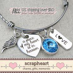 A Piece Of My Heart Is In Heaven Bracelet, Memorial Bracelet, Memorial Jewelry, Stainless Steel Adjustable Bangle, Crystal Birthstone Gift