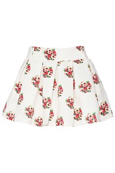 ROMWE | ROMWE Floral Print Elastic White Skirt, The Latest Street Fashion