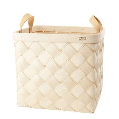 Verso's Lastu Large Birch Storage Basket with Beige Leather Handles is a cube shaped basket. A great general storage basket, it has plenty of space Burmilla, Layered Weave, Hand Knit Blanket, Wooden Basket, Large Baskets, Nordic Design, Goods And Service Tax, Luxury Home Decor, Madagascar