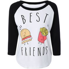 Hamburger Print Raglan Sleeve T-Shirt (970 DOP) ❤ liked on Polyvore featuring tops, t-shirts, patterned tops, raglan sleeve t shirt, print tees, raglan top and raglan tee