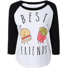 Hamburger Print Raglan Sleeve T-Shirt (970 DOP) ❤ liked on Polyvore featuring tops, t-shirts, patterned tops, raglan sleeve t shirt, print tees, raglan top and raglan tee