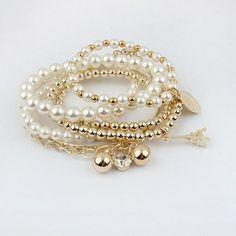 New Fashion Vintage Eiffel Tower Beads Coin Combination Bracelet Bangle Pendants Silver, WHITE in Bracelets | DressLily.com