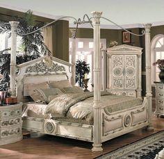 Save On YT Furniture Romeo Poster Bedroom Set (Whitewash) Online Store YT  Furniture Romeo .