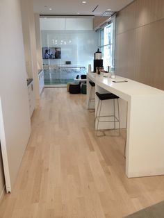 Take a look at our beautiful Natural Select and Better Hard Maple hardwood flooring in Desjardins Marché Central offices. #hardwoodfloor #artfromnature