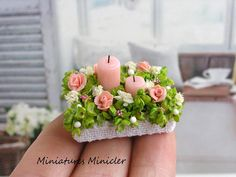 2017. Miniature Dollhouse Flower Box With Candles ♡ ♡ By Minicler