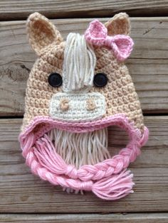 Adorable Newborn Pink Crochet Horse Hat by GiftsforGenevieve, $18.50