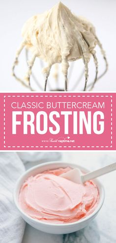 Classic Buttercream Frosting Recipe - Creamy, sweet and delicious! The perfect frosting for cupcakes, cookies and cakes.Classic Buttercream Frosting Recipe - Creamy, sweet and delicious! The perfect frosting for cupcakes, cookies and cakes. Cupcake Frosting Recipes, Easy Buttercream Frosting, Baking Cupcakes, Cupcake Cakes, Cake Decorator Icing Recipe, Easy Frosting Recipe, Buttercream Icing For Cupcakes, Birthday Cake Frosting Recipe, Butter Cream Icing Recipe