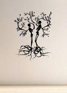 Scull Tree Branch Vinyl Wall Art (Black) – Medium Thought this looked awesome and think it would make a cool couple tattoo Kunst Tattoos, Paar Tattoos, Body Art Tattoos, Tattoo Drawings, New Tattoos, Cool Tattoos, Tatoos, Tatoo Tree, Tree Branch Tattoo
