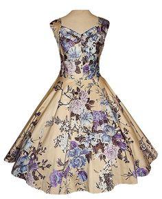 Vintage 50's ROSE Print Cotton Garden Print Pastel Floral Cocktail Party Dress