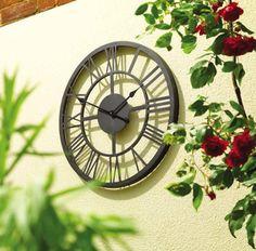 Black Roman Numeral Indoor And Outdoor Wall Clock 34cm