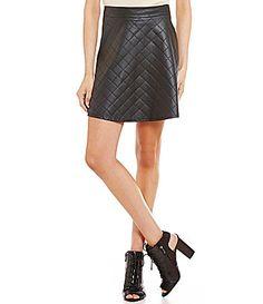 Soprano Quilted Pleather Skater Skirt #Dillards