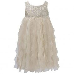 Biscotti Little Girls Gold Lace Tulle Circle Empire Waist Christmas Dress 4-6X