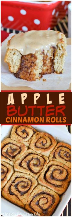 Apple Butter Cinnamon Rolls - three times the apple butter love makes these soft and fluffy rolls a delicious breakfast choice. Easy recipe for fall mornings. #applebutter #cinnamonrolls #breakfast