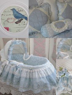 My last Moses Basket for now, I can& wait to start making some hearts for Valentine& day. This time a blue cotton basket cover with so. Baby Bassinet, Baby Cribs, Baby Boy Rooms, Baby Room, Cradles And Bassinets, Royal Nursery, Kit Bebe, Moses Basket, Baby Bedding Sets