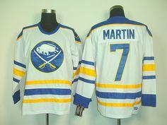 Buffalo Sabres 7 Rick MARTIN CCM Vintage Hockey Jersey White