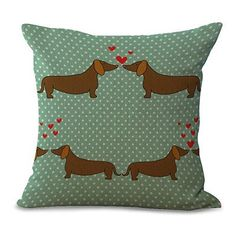 Square Linen Cute Dachshund Cushion Cover