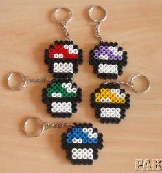 Mario Mushroom Keyrings.Nintendo 'Shroom Hama Perler Fuse Bead Gaming Game Super