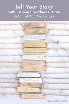 Tell your story with a custom Coordinate, Date or Initial Name Bar Necklace. Perfect as a unique Anniversary & Wedding Gift to celebrate your memorable day and share the love of your story. Ships in 24 hours, you can also save 30% and receive free shipping when you order today from Eve's Addiction. #anniversarygifts