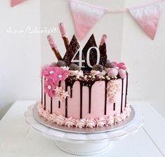 40th Birthday Cake For Women, 40th Cake, Adult Birthday Cakes, Drippy Cakes, Drop Cake, Drizzle Cake, Bon Dessert, Love Cake, Sweet Cakes