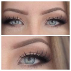 Soft makeup, natural eye makeup, eye liner, false lashes, blue eyes by Aj Lashes