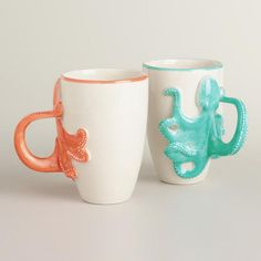 Our playful Octopus Mugs feature detailed octopus tentacle handles that transport you to the sea even when you're miles away. Crafted of stoneware with an elegant beach house appeal, these mugs are perfect reminders of the shoreline. Octopus Decor, Octopus Art, Cute Mugs, Tentacle, Mugs Set, Mug Cup, Coastal Decor, Biscuit, Coffee Cups