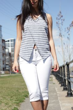 Back Lace Striped Tank