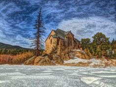 Colorado, St. Malo Chapel, landscapes, mountains, winter, snow
