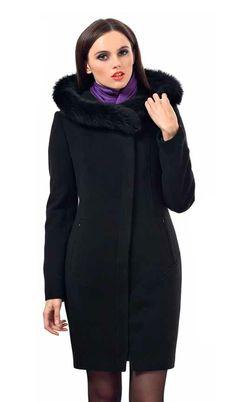 Пальто женское зимнее с капюшоном и меховой опушкой. Avalon