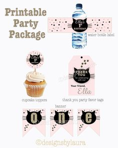 Cat Invitation-Cat Birthday Invite-Pink and Gold-Printable by designs by laura Thank You Party, Birthday Thank You, Cat Birthday, Kitten Party, Cat Party, Cat Themed Parties, Birthday Packages, Happy Party, Birthday Chalkboard
