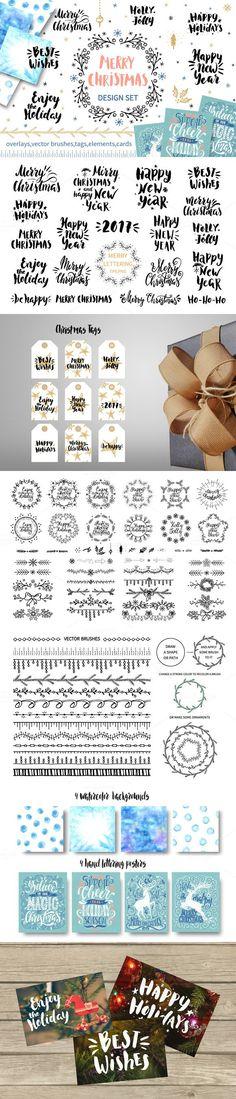 Merry Christmas design set. Christmas Patterns. $12.00