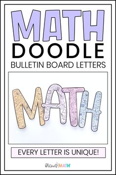 MATH DOODLE BULLETIN BOARD LETTERS! *Full Alphabet with unique doodle designs in each letter! *Perfect for every math teacher and all the MATH CLASSROOM DECOR! *NOW INCLUDING NUMBERS 0-9! #classroom #otherresources Teacher Helper, Math Teacher, Teaching Math, Teaching Ideas, Cool Science Facts, Math Facts, Math Classroom Decorations, School Classroom, Math Key Words