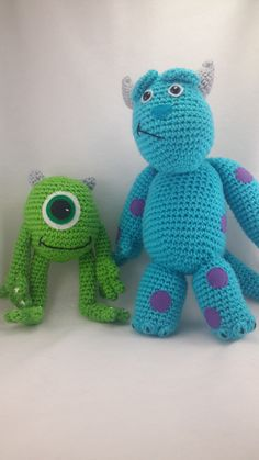 crochet monsters inc Mike and Sully inspired  toys by LeftysDesigns on Etsy https://www.etsy.com/listing/215333550/crochet-monsters-inc-mike-and-sully
