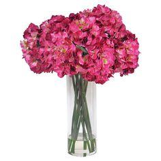 Faux Hydrangea Arrangement in Vase.