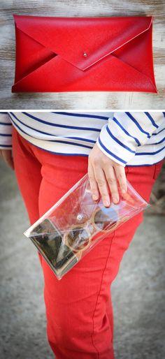 DIY: no sew vinyl pouch