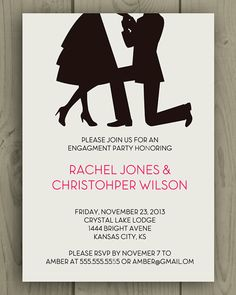 Printable Engagement Party Invite / Proposal Silhouette / DIY